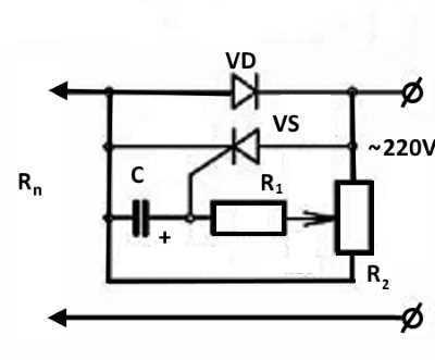 Регулятор мощности тиристорный, схемы регуляторов напряжения на тиристорах