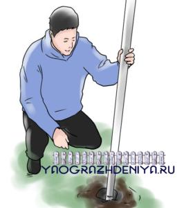 Как выполнить монтаж забора из сетки-рабицы своими руками